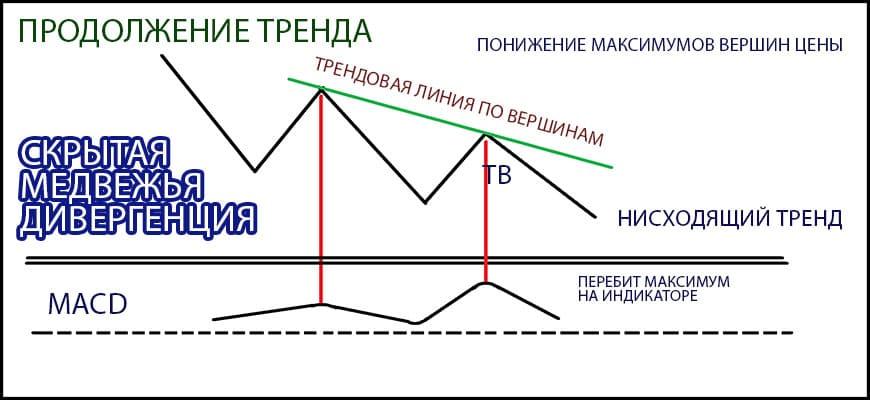 скрытая медвежья дивергенция или скрытая конвергенция