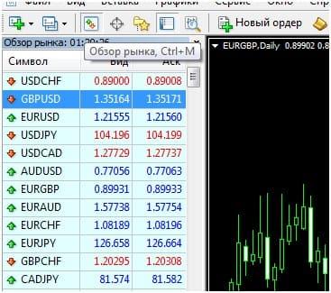 Обзор рынка в Metatrader