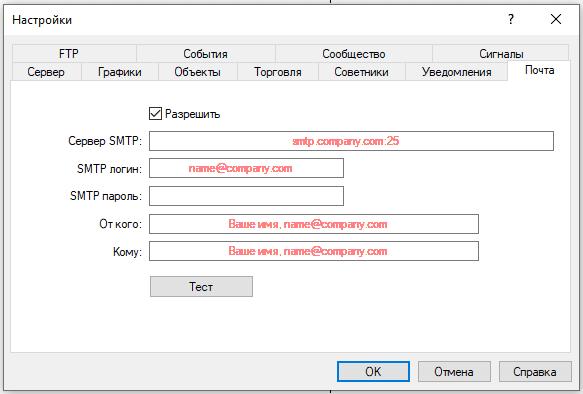 Почта для сообщений в терминале метатрейдер 4